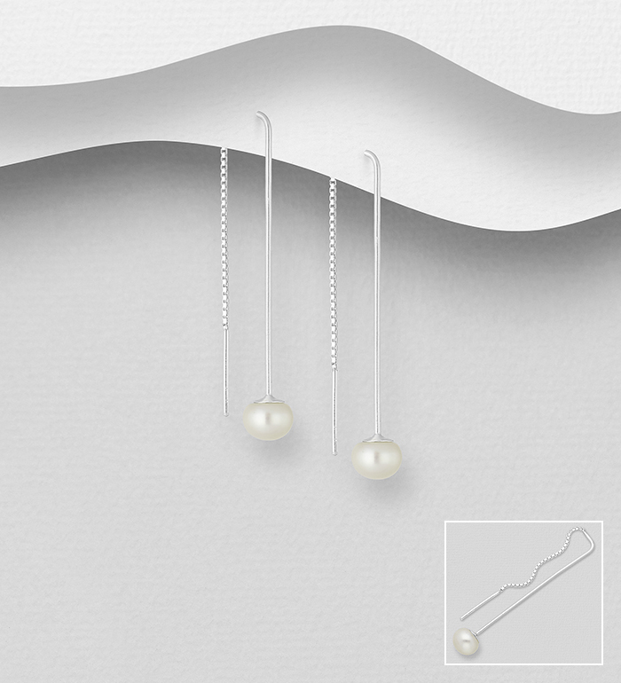 382-4450 - 925 Sterling Silver Threader Earrings Decorated with Freshwater Pearls