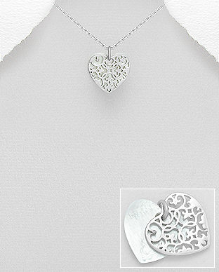 473-2986 - 925 Sterling Silver Heart Pendant Decorated With Shell
