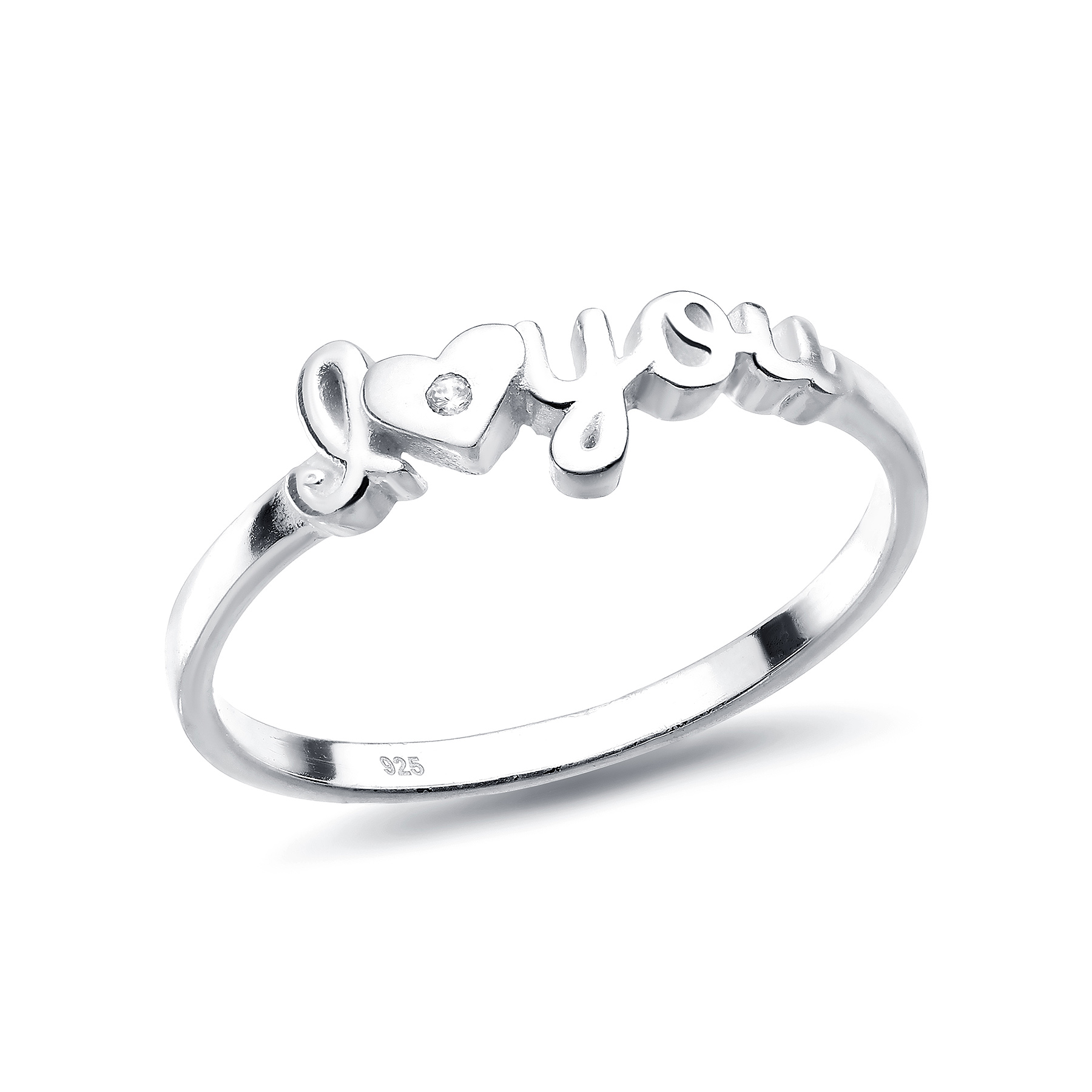 1063-1736 - 925 Sterling Silver Heart I love you Ring Decorated with CZ Simulated Diamonds