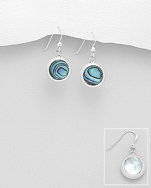 473-3015 - 925 Sterling Silver Hook Earrings Decorated With Reconstructed Turquoise & Resin & Shell