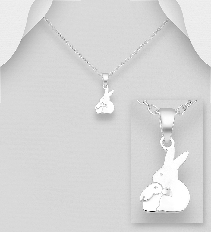 1063-1776 - 925 Sterling Silver Mother and Baby Rabbit Pendant