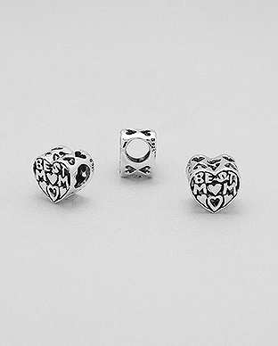 1559-209 - 925 Sterling Silver Heart & BEST MOM Bead