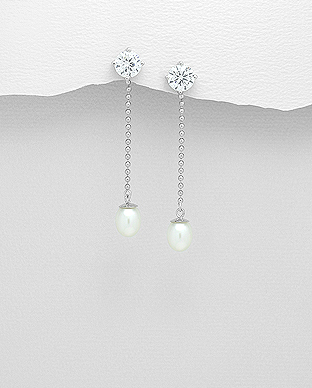 382-4580 - 925 Sterling Silver Push-Back Earrings Decorated With CZ And Fresh Water Pearls