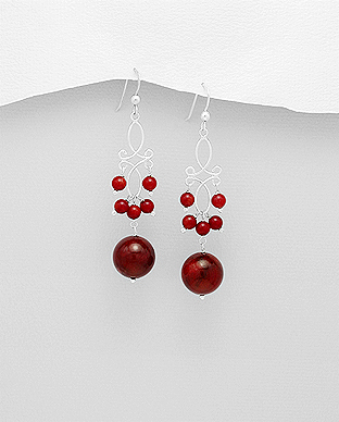 695-1255 - 925 Sterling Silver Hook Earrings Beaded With Dyed Coral
