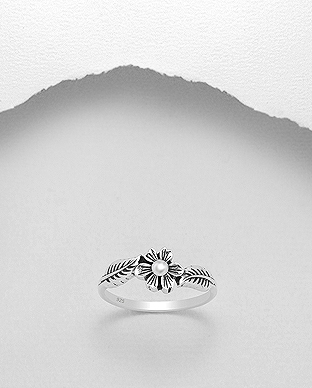 706-25205 - 925 Sterling Silver Flower and Leaf Ring