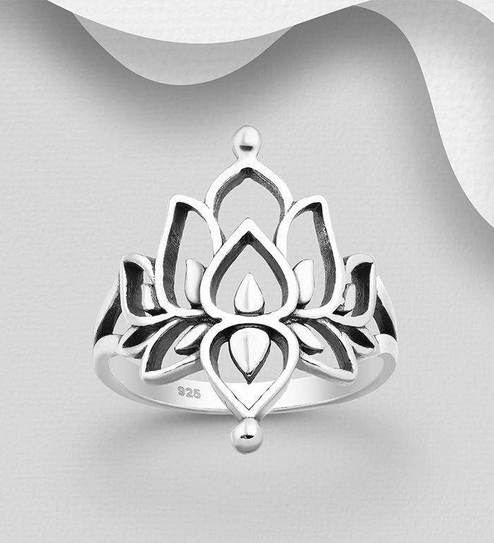 706-25343 - 925 Sterling Silver Oxidized Lotus Ring