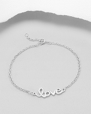706-14879A - 925 Sterling Silver Bracelet with Message love