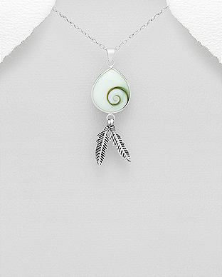 966-564 - 925 Sterling Silver Feather Pendant Decorated With Shiva Shell
