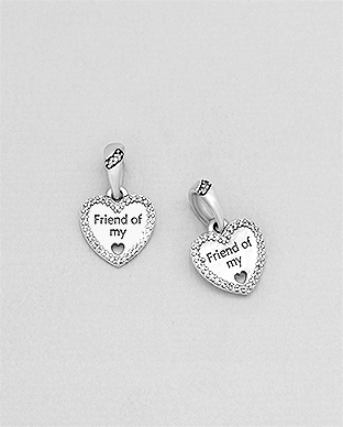 1559-294 - 925 Sterling Silver Heart & Friend Of My Heart Bead-Charm