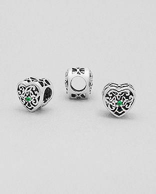 1559-299 - 925 Sterling Silver Heart Bead