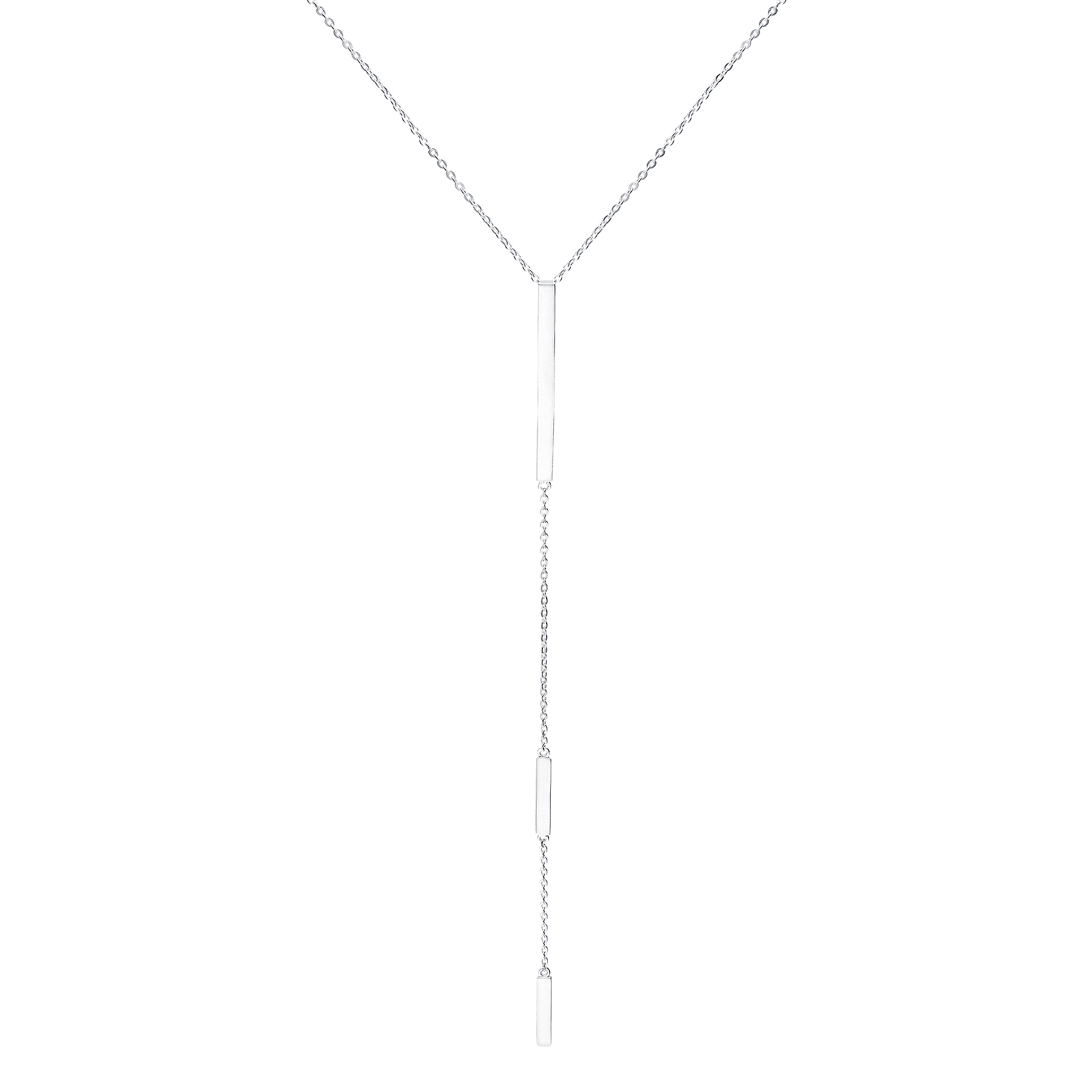 1063-1921 - 925 Sterling Silver Y Triple Bar Necklace