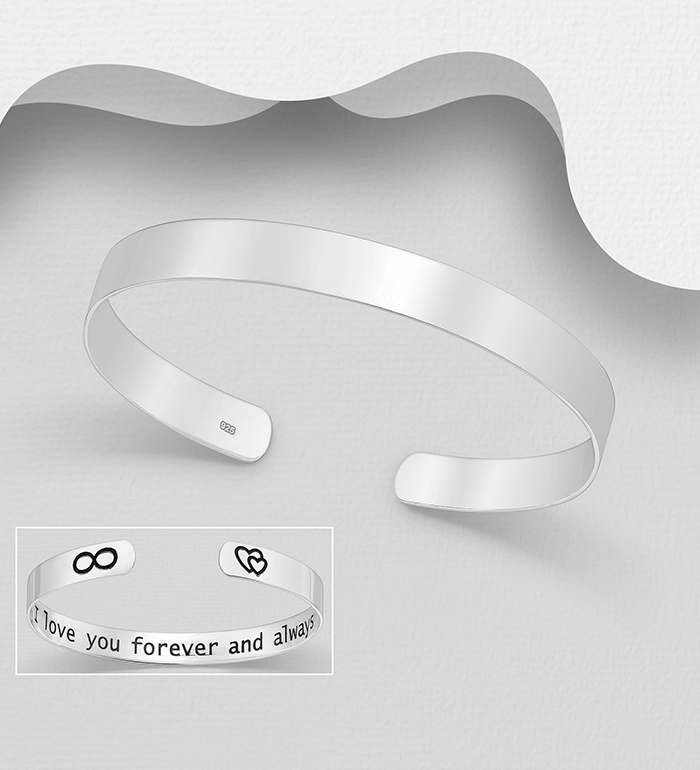 1063-1953 - 925 Sterling Silver I love you forever and always Cuff