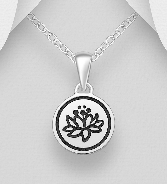 1063-1965 - 925 Sterling Silver Lotus Pendant Decorated With Colored Enamel