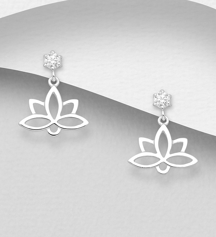 1063-1966 - 925 Sterling Silver Lotus Push-Back Earrings Decorated with CZ Simulated Diamonds