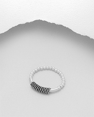 706-26078 - 925 Sterling Silver Ball Stretch Ring