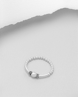706-26088 - 925 Sterling Silver Ball Stretch Ring