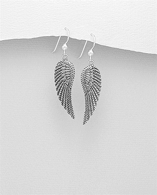 706-26142 - 925 Sterling Silver Oxidized Wings Hook Earrings