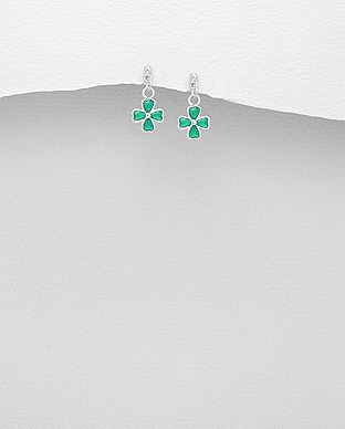 578-2624 - 925 Sterling Silver Clover Push-Back Earrings, Decorated with Various Colored Enamel