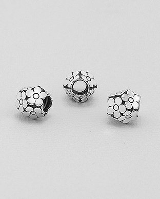 1559-338 - 925 Sterling Silver Flower Bead