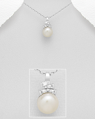 382-4837 - 925 Sterling Silver Pendant Decorated With CZ And Fresh Water Pearl