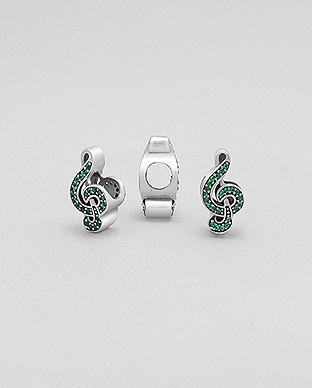 1559-342 - 925 Sterling Silver Music Notes Bead