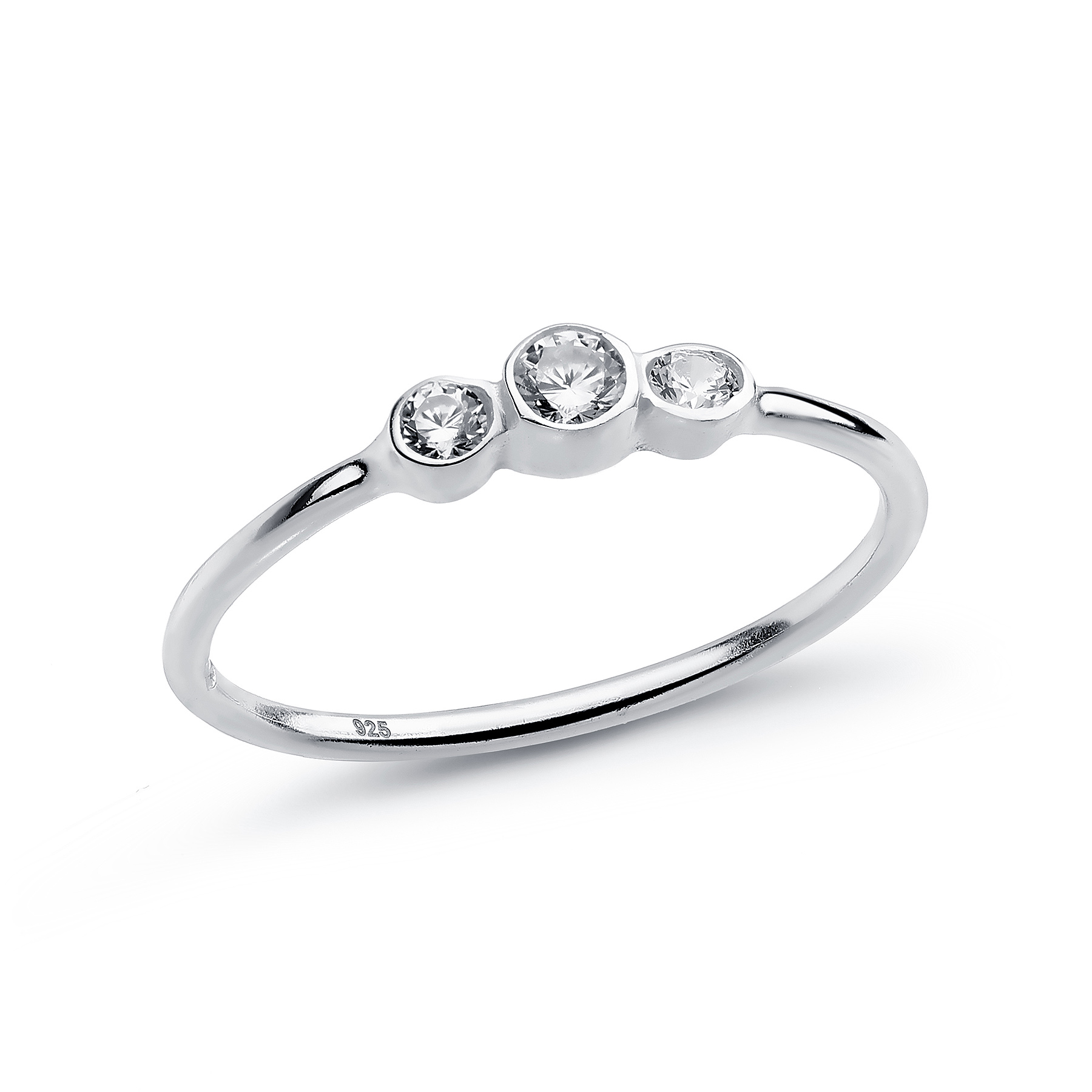 701-18774 - 925 Sterling Silver Ring Decorated with CZ Simulated Diamonds, Plated with Pure Silver