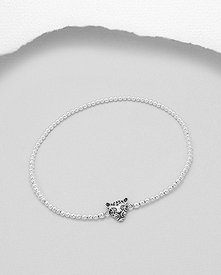 706-26461 - 925 Sterling Silver Stretch Bracelet With Tiger Head Bead