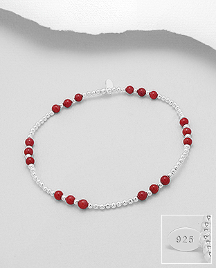 695-1284 - 925 Sterling Silver Stretch Bracelet Beaded With Dyed Coral