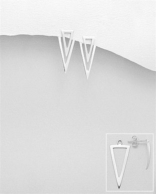 706-26502 - 925 Sterling Silver Push-Back Triangle Earrings