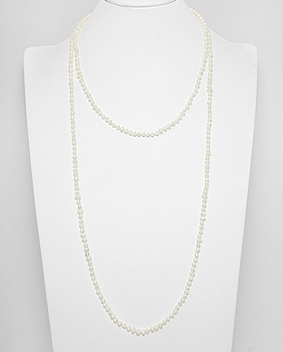382-4888 - Cotton Necklace Beaded With Fresh Water Pearls