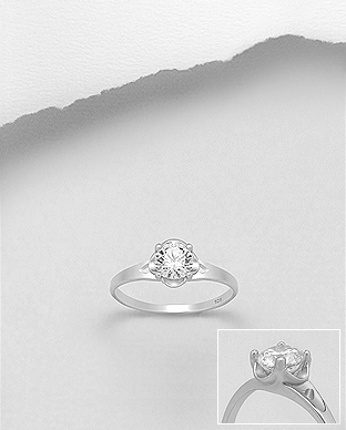 701-21024 - 925 Sterling Silver Ring Decorated with CZ Simulated Diamonds,
