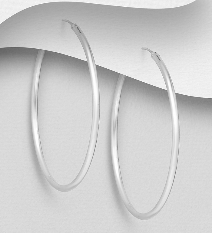 22-34 - 925 Sterling Silver Hoop Earrings