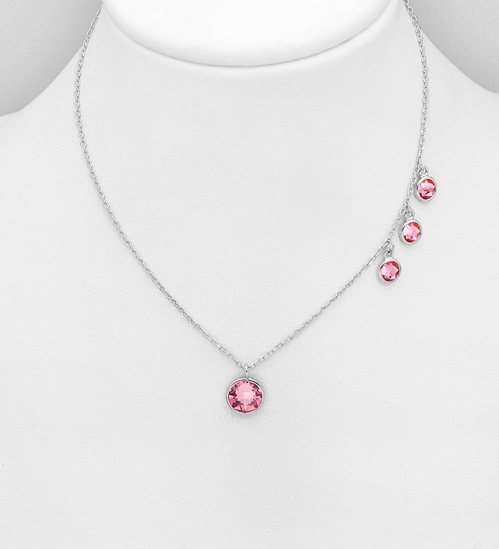 1583-351 - Sparkle by 7K - 925 Sterling Silver Necklace Decorated with Authentic Swarovski<sup>®</sup> Crystals