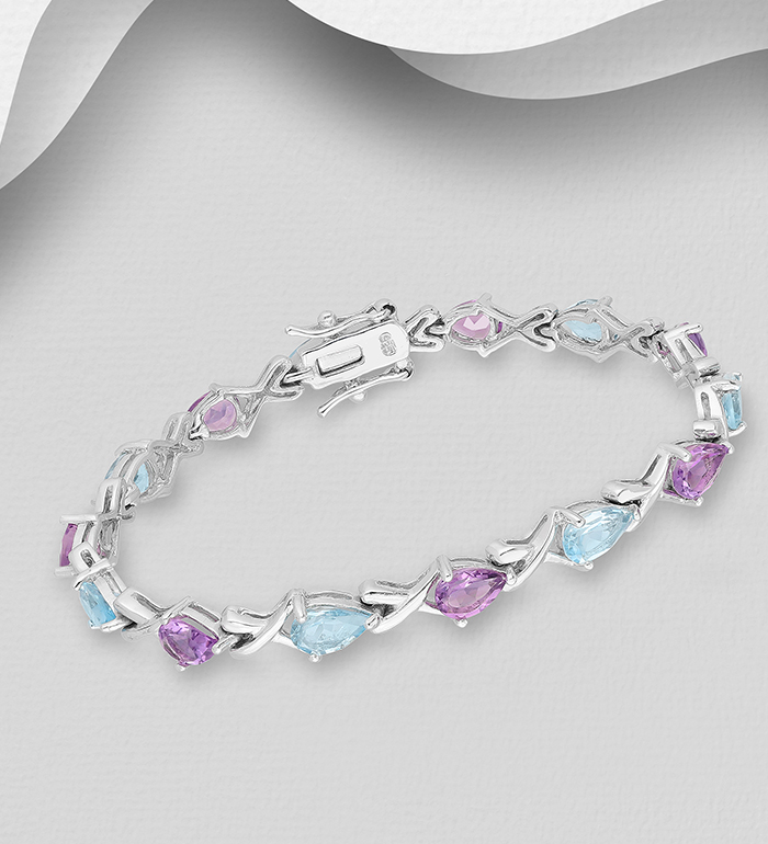 1181-3105 - La Preciada - 925 Sterling Silver Bracelet, Decorated with Various Gemstones