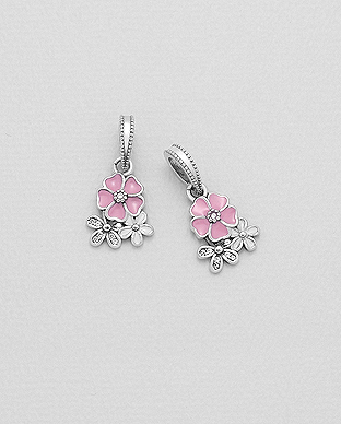 1559-412 - 925 Sterling Silver Flower Bead-Charm Decorated With Colored Enamel And CZ