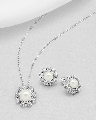 382-4985 - 925 Sterling Silver Set of Flower Earrings And Pendant Decorated With CZ And Fresh Water Pearls
