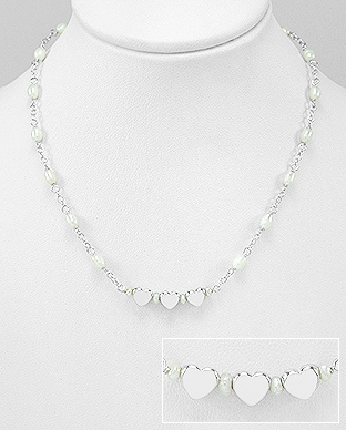 382-4994 - 925 Sterling Silver Heart Necklace Beaded With  Fresh Water Pearls