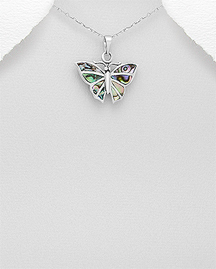 789-3548 - 925 Sterling Silver Butterfly Pendant Decorated With Shell