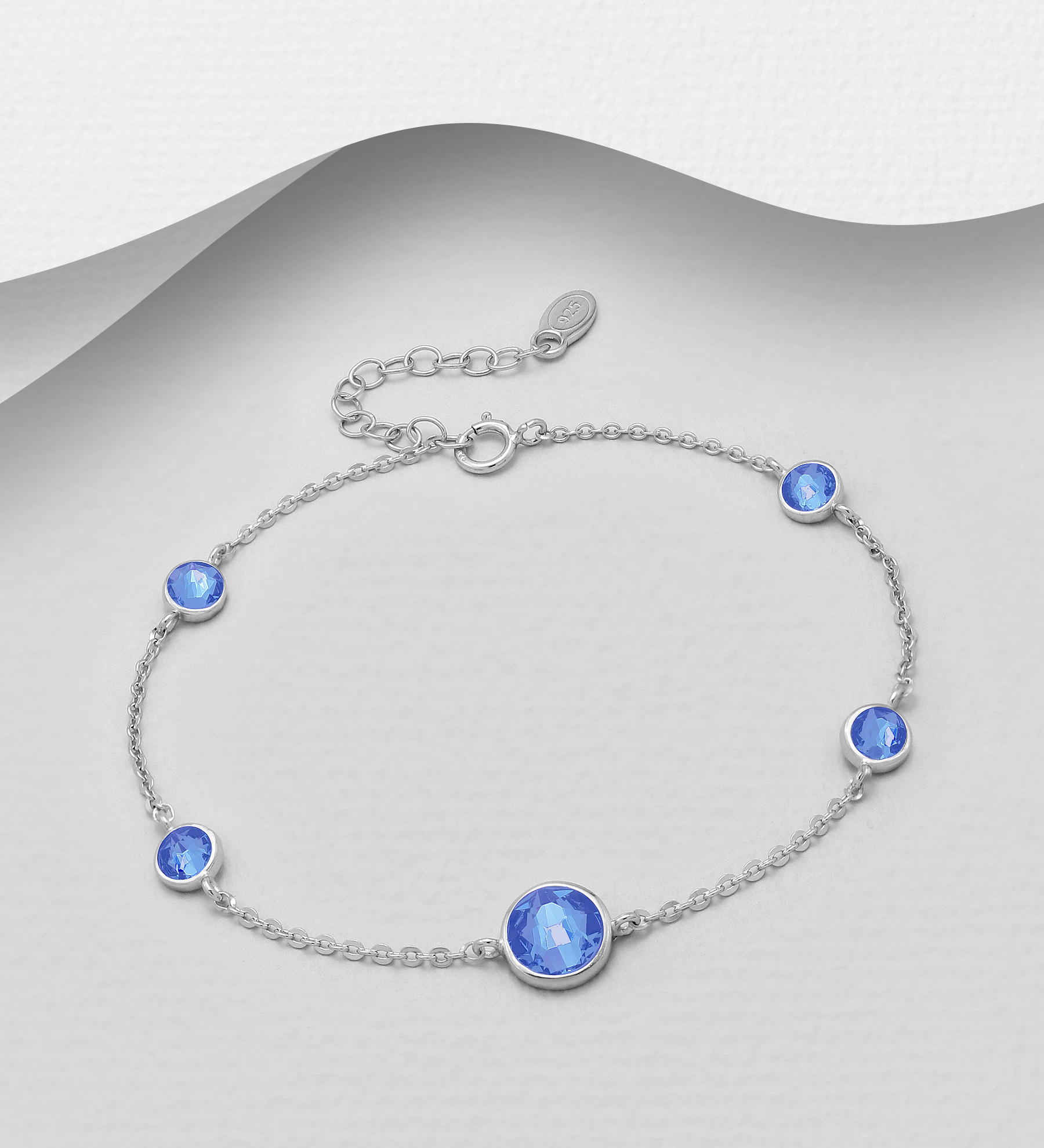 1583-357 - Sparkle by 7K - 925 Sterling Silver Bracelet Decorated With Verifiable Authentic Swarovski Crystals