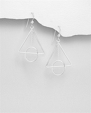 706-27559 - 925 Sterling Silver Circle And Triangle Hook Earrings