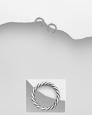 706-27576 - 925 Sterling Silver Circle Push-Back Earrings