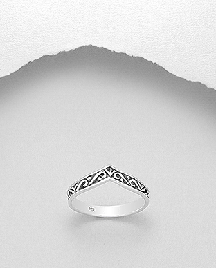 706-27671 - 925 Sterling Silver Oxidized Chevron Ring