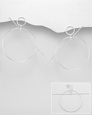 706-27692 - 925 Sterling Silver Circle Push-Back Earrings