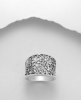 706-27702 - 925 Sterling Silver Oxidized Flower Ring