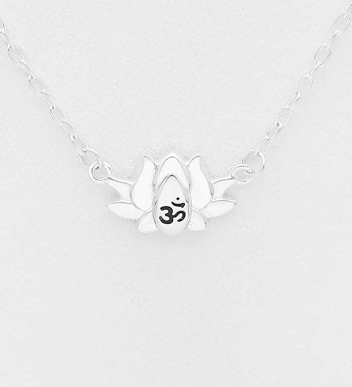 1063-2148 - 925 Sterling Silver Necklace Featuring Lotus Engraved With Colored Enamel Om Sign