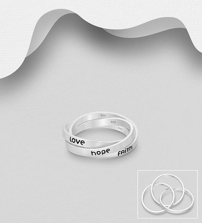1063-2156 - 925 Sterling Silver Faith, Hope, Love Interlock Ring Decorated with Colored Enamel