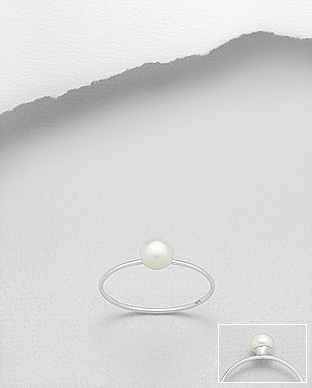 382-5030 - 925 Sterling Silver Ring Decorated With Fresh Water Pearl