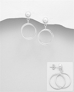 706-27775 - 925 Sterling Silver Circle Push-Back Earrings