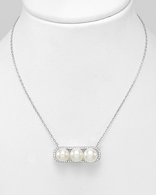 382-5047 - 925 Sterling Silver Necklace Decorated With Fresh Water Pearls And CZ