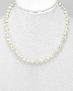 382-2777AA - 925 Sterling Silver Necklace Beaded With AA Quality Fresh Water Pearls